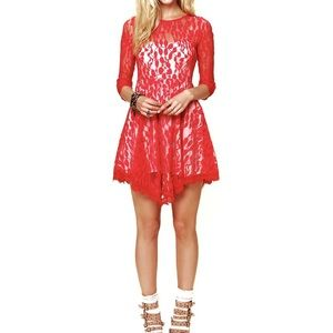 Free People Floral Lace Mesh Dress